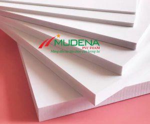 Tấm PVC Foam Mudena MF01Thông số kỹ thuật của Tấm PVC Foam Mudena:Độ dày: 5mm-20mm;Kích thước: 1220*2440mmTỷ trọng: 0.55-0.6 g/cm3Màu sắc: TrắngGhi chú: Dung sai kt, dài, rộng +/- 2mm, dày +/- 0,2mm, trọng lượng tấm +/- 2%